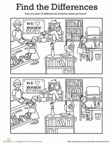 find the differences at the library coloring twists 776 | 4add30f04b9aa4542eee977f154f6aa7 kindergarten worksheets library worksheets