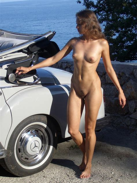 Sexy Russian Teen Posing Near Old Mercedes Benz Russian