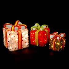 3 lighted gift boxes