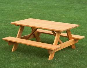 This picnic table has seating for adults, a high chair and