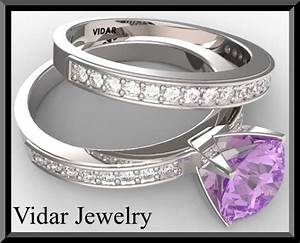 Diamond wedding ring setamethyst wedding ring by vidarjewelry for Amethyst diamond wedding ring set