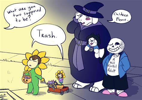 Trick Or Treating With Frisk And Flowey