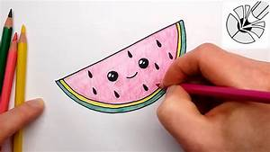 How to Draw a Cute Watermelon Slice - Kawaii food ...