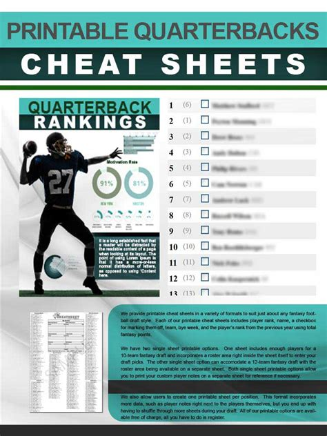 quarterbacks cheat sheet  printable format