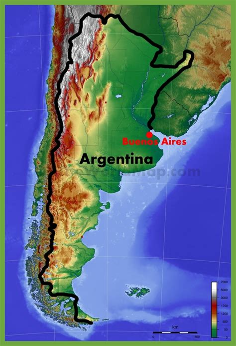 physical map  argentina