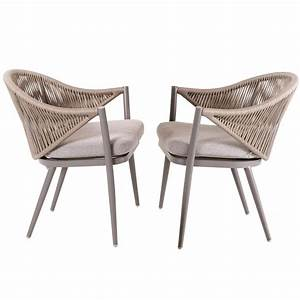 Nuu, Garden, Stationary, Aluminum, Woven, Rope, Outdoor, Dining, Chair, With, Beige, Cushions, 2
