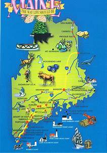 Maine Map Postcard  5