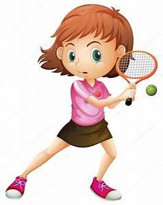 una niña jugando al tenis Archivo Imágenes Vectoriales © interactimages #47951755