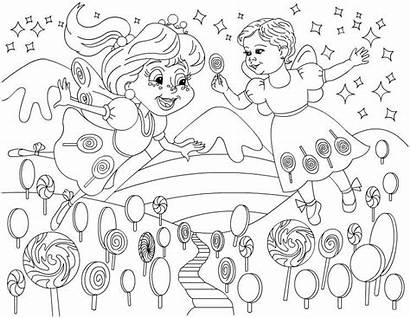 Coloring Candyland Pages Candy Birthday Land Party