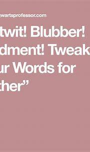 """Nitwit! Blubber! Oddment! Tweak!"" Four Words for ""Other ..."