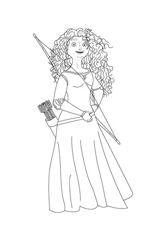 merida shows   bow  arrows coloring page  printable coloring pages