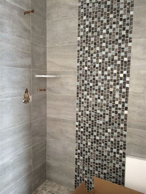 porcelain shower walls  stone  glass tile