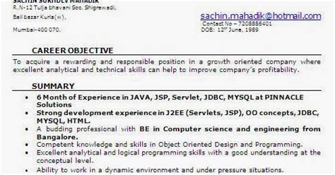 resume format for 6 months experience pdf 6 month experience resume for software developer