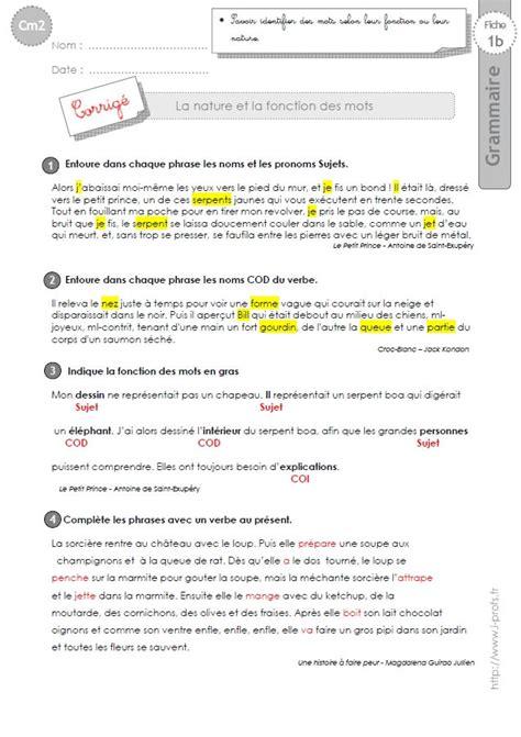 exercice nature des mots cm2 cm2 exercices nature et fonction des mots