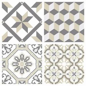 Carreaux De Ciment Autocollant : sticker carreaux de ciment ginette beige ~ Premium-room.com Idées de Décoration