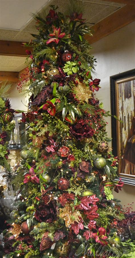 burgundy green themed christmas tree christmas