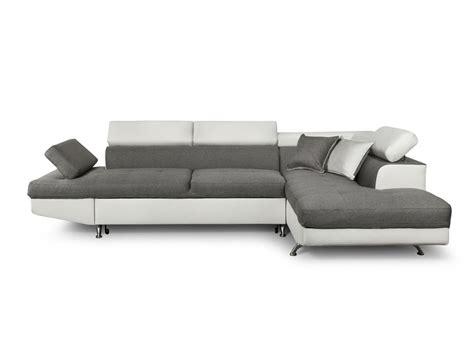 canapé convertible blanc simili cuir canapé d 39 angle en simili cuir et tissu droit blanc gris