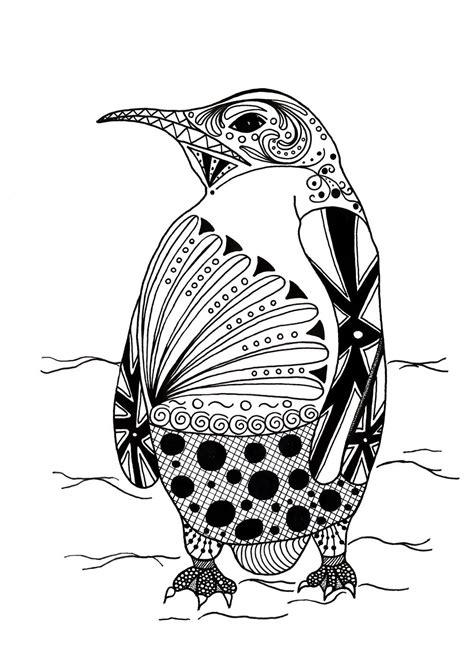 Intricate Penguin Adult Coloring Page FaveCrafts com