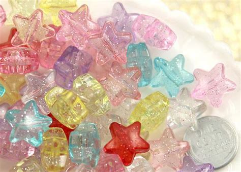 mm pretty pastel glitter plastic star beads  pc set