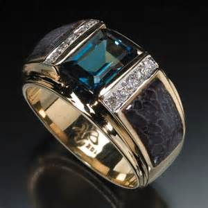 walmart mens wedding rings randy polk designs 39 s rings 9x7mm blue topaz center with inlay and 10 pave