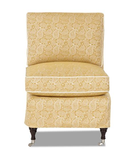 klaussner trixie traditional armless accent chair with