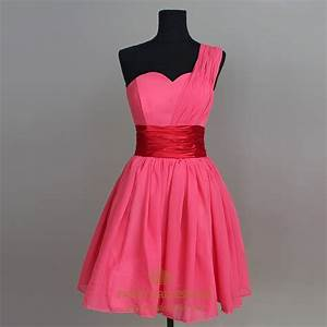Hot Pink Chiffon Bridesmaid Dress, Short One Shoulder ...