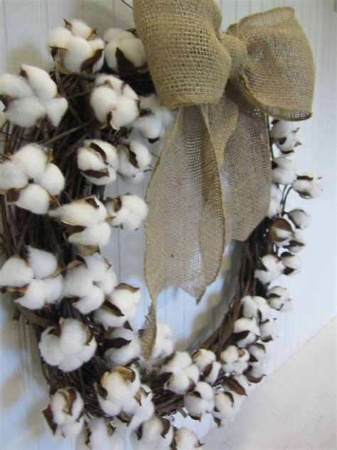 cotton boll branch wreath hometalk
