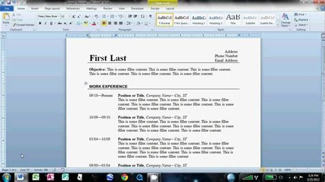 how to make an easy resume in microsoft word 2010 omg