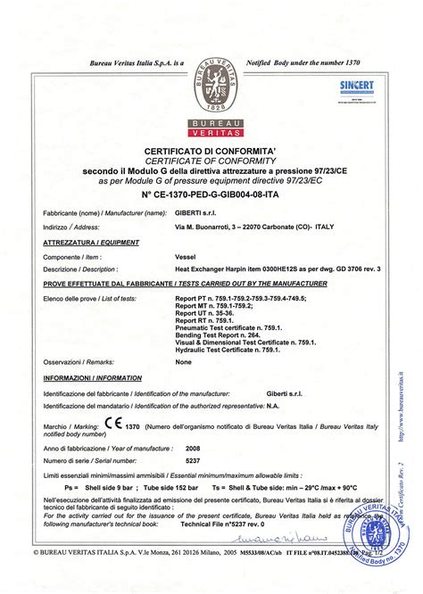 certificazioni giberti srl