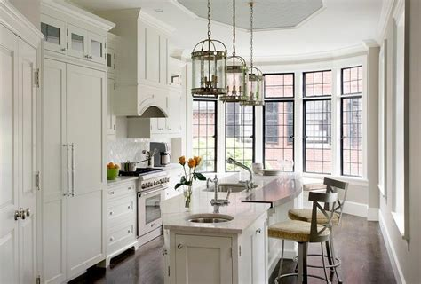 Angled Kitchen Island with Two Sinks   Transitional   Kitchen
