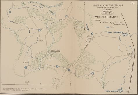 position siege sketch showing the position of the weldon railroad