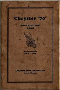 Chrysler 70 Instruction Book 1926 Owner Manual Guide 11th