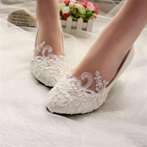 lace white ivory crystal wedding shoes bridal flats