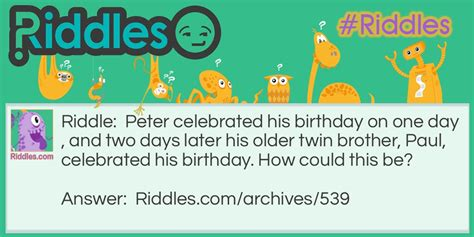 birthday riddle twins birthday riddles com