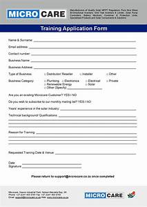 application form microcare solar components With training course application form template