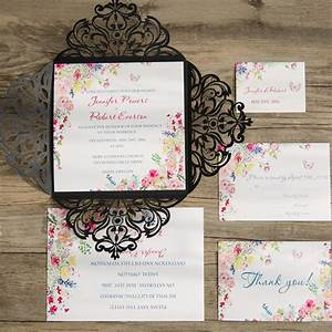 colorful flower black laser cut spring invitations iwsm052 With laser cut floral wrap wedding invitations