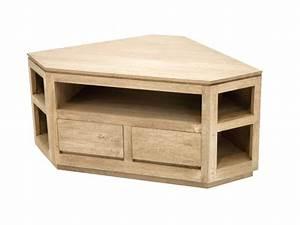 Meuble Angle Bois : meuble tv bois exotique ~ Edinachiropracticcenter.com Idées de Décoration