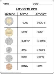 Canadian Money Printable Worksheets
