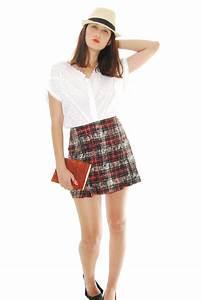 Red, Black and White Madras Design Vintage Skirt For Women ...