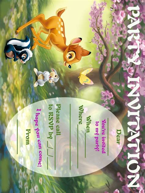 bambi  invitation party printable  printable