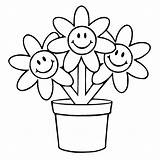 Flower Pages Pot Colouring Clipart Clipartbest Coloring sketch template