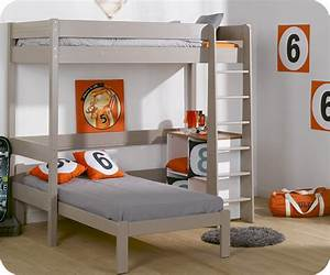 Lit mezzanine enfant clay lin avec matelas vente mobilier for Tapis chambre enfant avec canape nelson 2