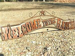 large metal cutout letters welcome to the ranch sign wall With metal letters for entrance gates