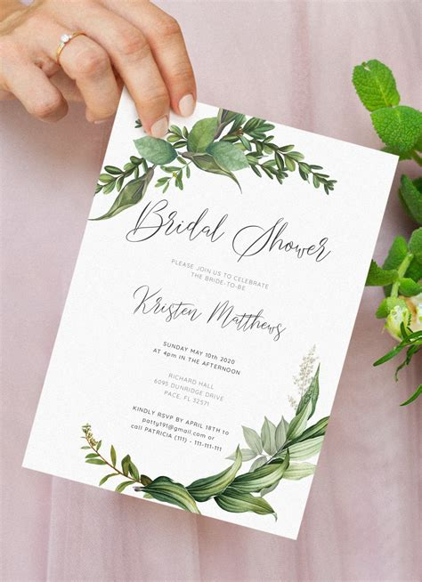 printable green floral bridal shower invitation