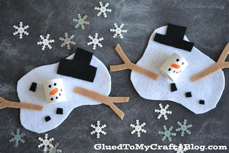 snowman ideas felt and craft foam melted snowman kid craft glued to my crafts