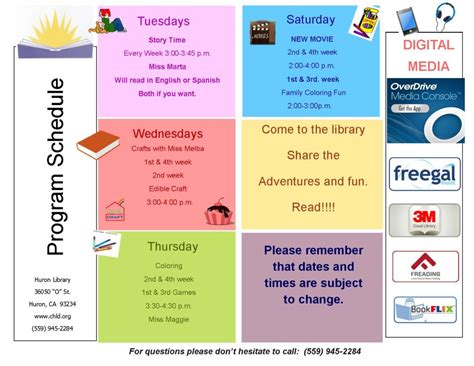 huron library program schedule coalinga huron library