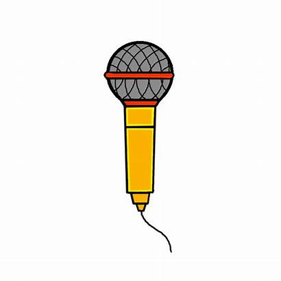 Microphone Draw Drawing Easy Step Colored