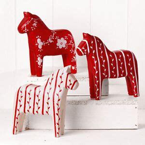 scandinavian swedish wooden dala horse red  white ebay
