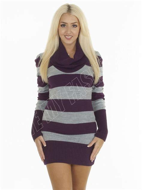 New Womens Long Sleeve Cowl Neck Stripe Knitted Tunic Jumper Dress Size S M L XL | eBay