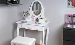 Miroir De Coiffeuse : coiffeuse avec miroir et tabouret groupon shopping ~ Teatrodelosmanantiales.com Idées de Décoration